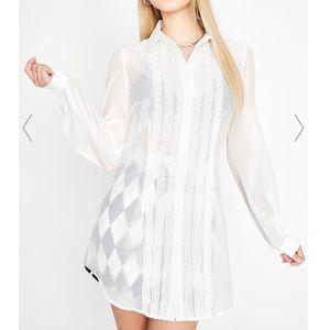 NWT Dollskill Sugar Thrillz White Sheer Shirt